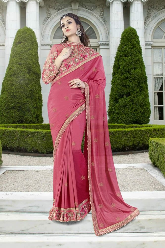 buy saree online Pink Colour Silk Georgette Party Wear Saree Buy ...