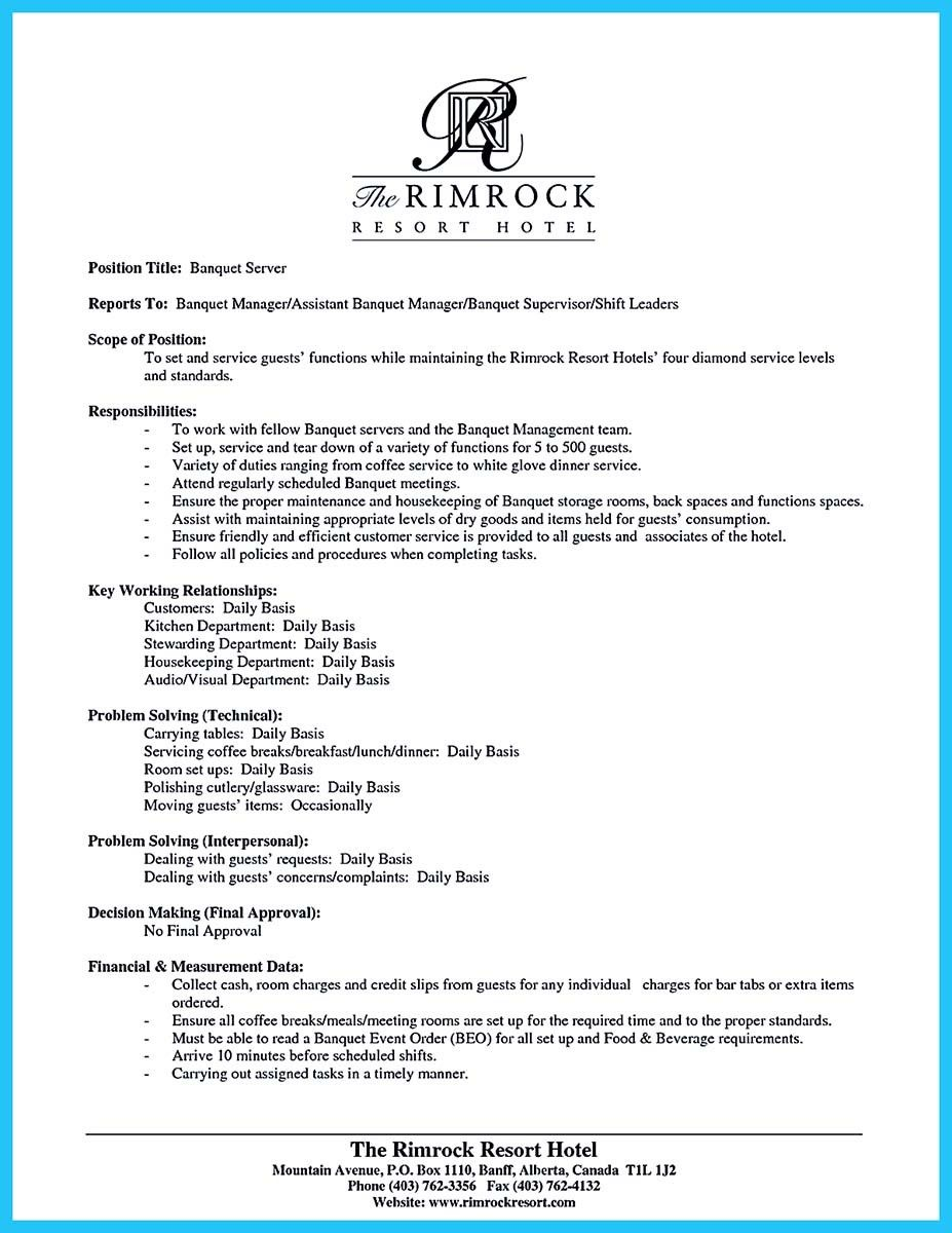 Server Resume Examples Nice Expert Banquet Server Resume Guides You Definitely Need