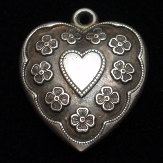Puffy Heart Charm Vintage Sterling Silver Engraved San