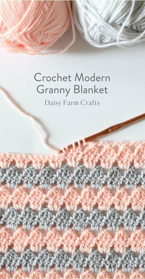 Free Pattern - Crochet Modern Granny Blanket | Ganchillo | Pinterest ...