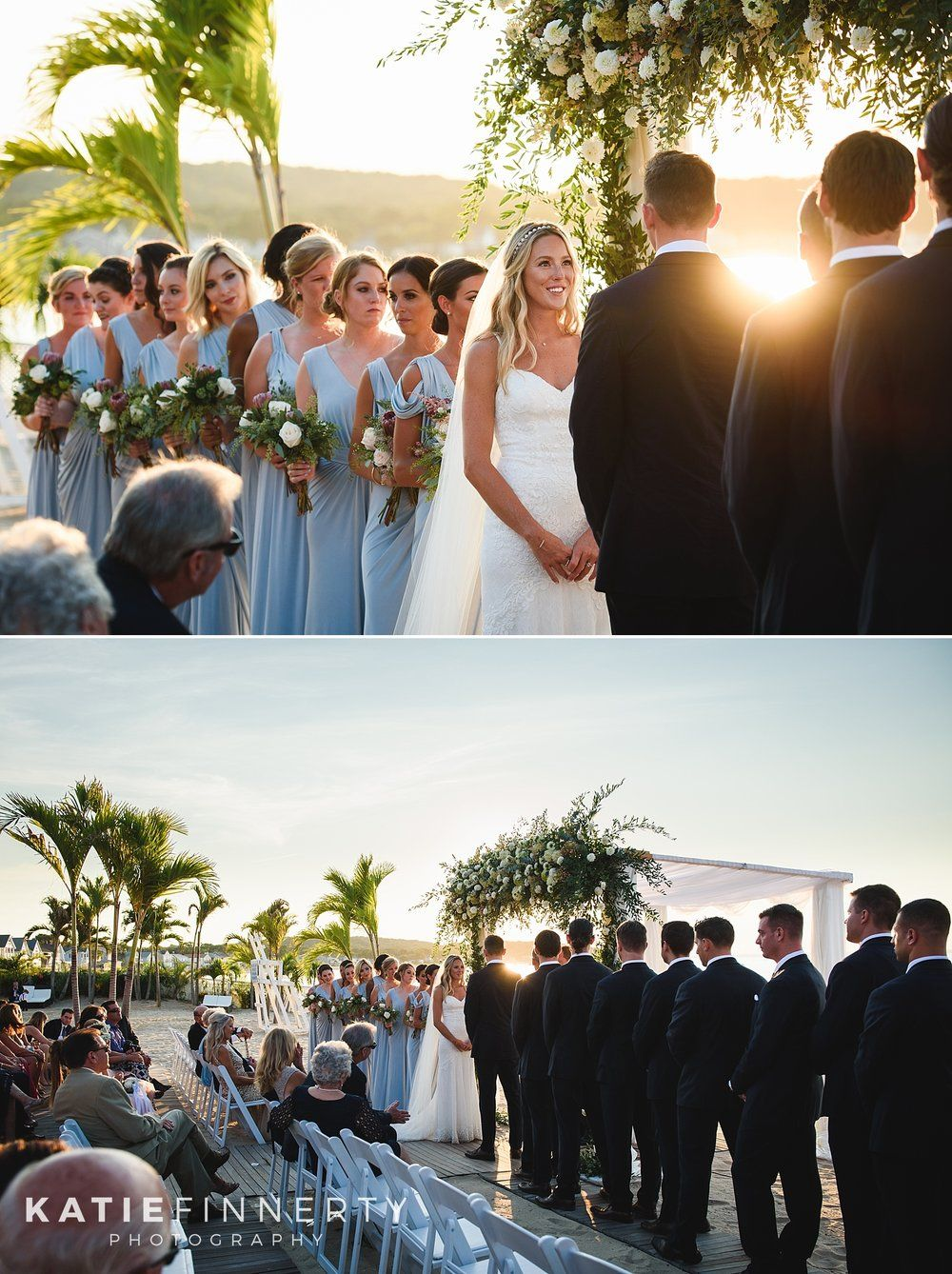 Sunset Beach Wedding Ceremony At Long Islands Crescent Club Photographed By Rochester NY