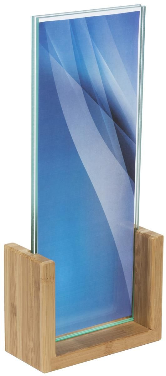 4 x 11 Acrylic Sign Holder w/ Bamboo Base, Double-Sided, Bottom Insert - Natural