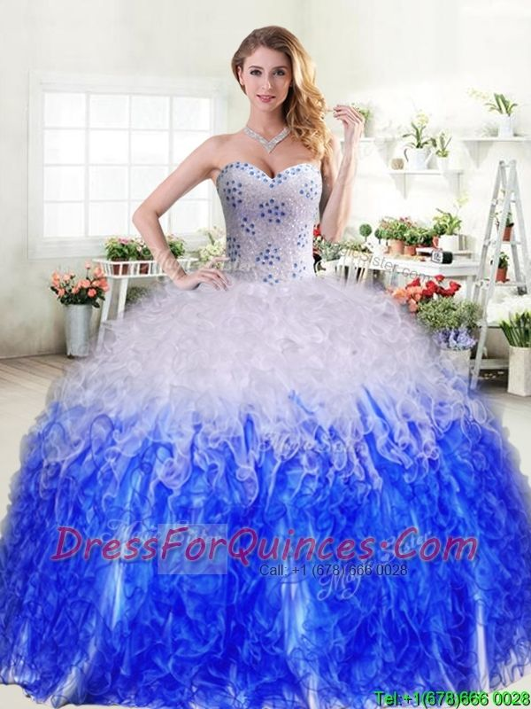 b8ce480dd06 Best Selling Really Puffy Quinceanera Dress in Royal Blue and White ...