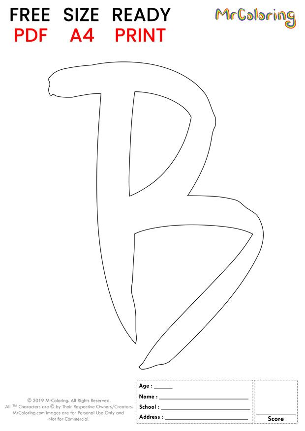 Alphabet letter B coloring pages Uppercase or Capital