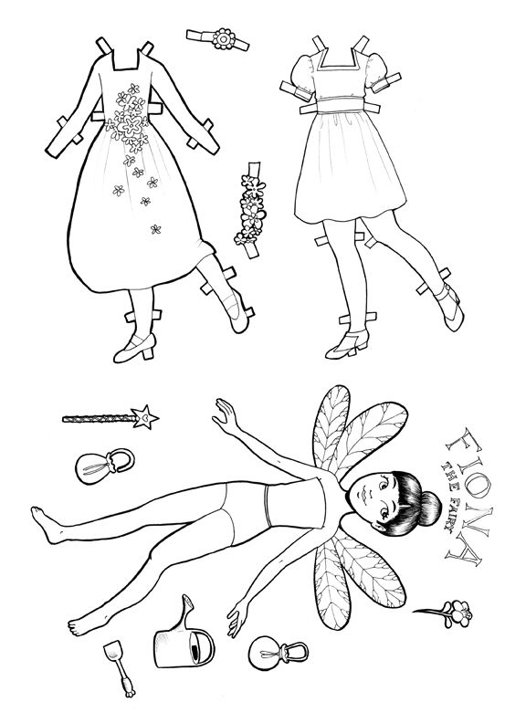 Paper Doll Fairy Free Download Kidscraft Colouring Page Paper