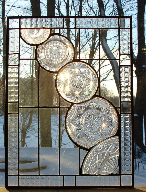 A Dynamic All Clear Stained Glass Panel Encompassing An Array Of Vintage Crystal Pieces These Clear Glass Window Art Stained Glass Panel Stained Glass Panels