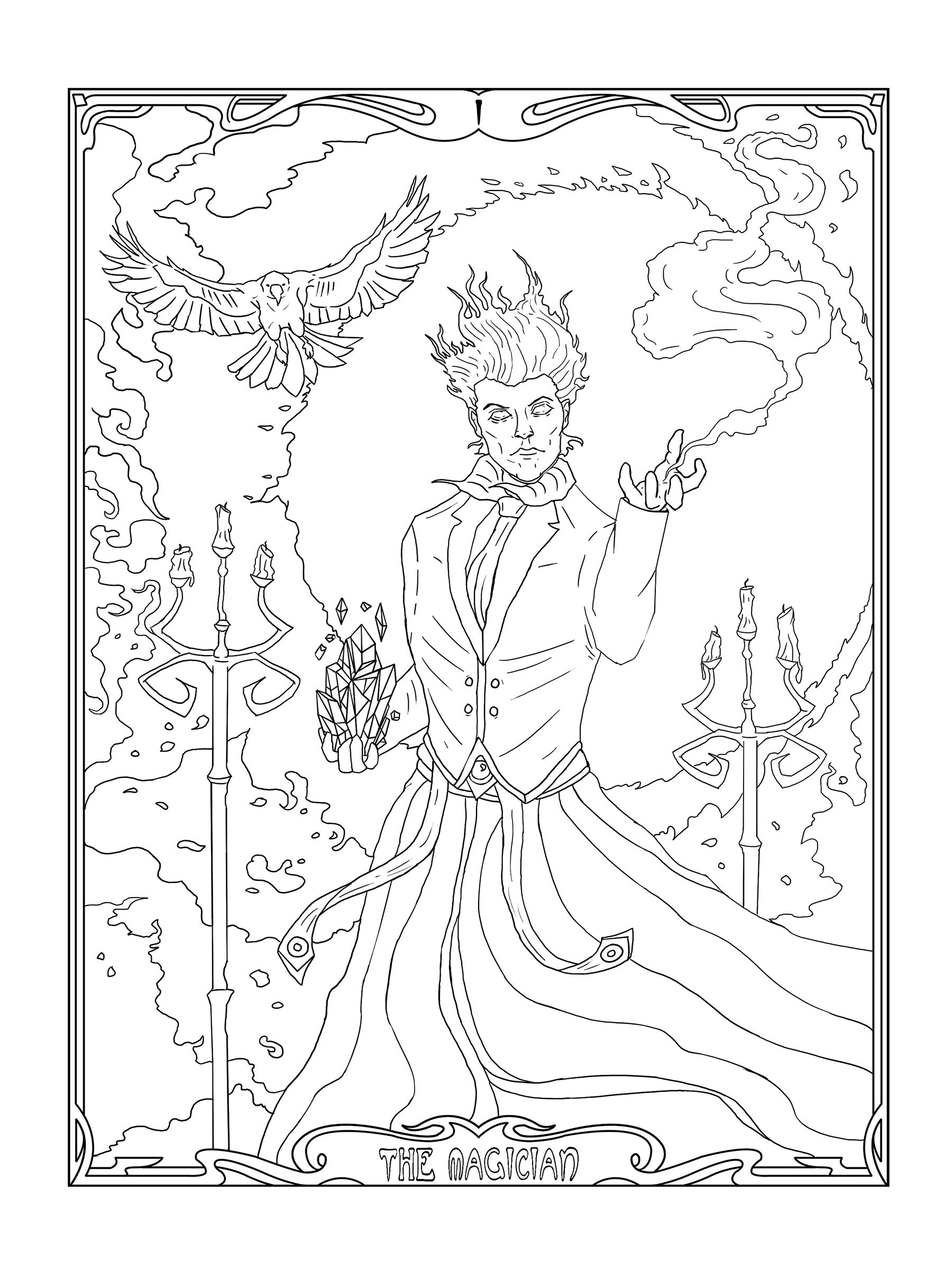 tarot coloring pages The Magician, Mage, Magic, Art Nouveau, Coloring Pages, Printable  tarot coloring pages
