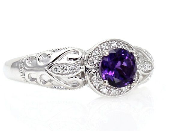 14K Vintage Amethyst Ring Diamond Halo Art Nouveau Amethyst Ring Custom Bridal Jewelry February Birthstone