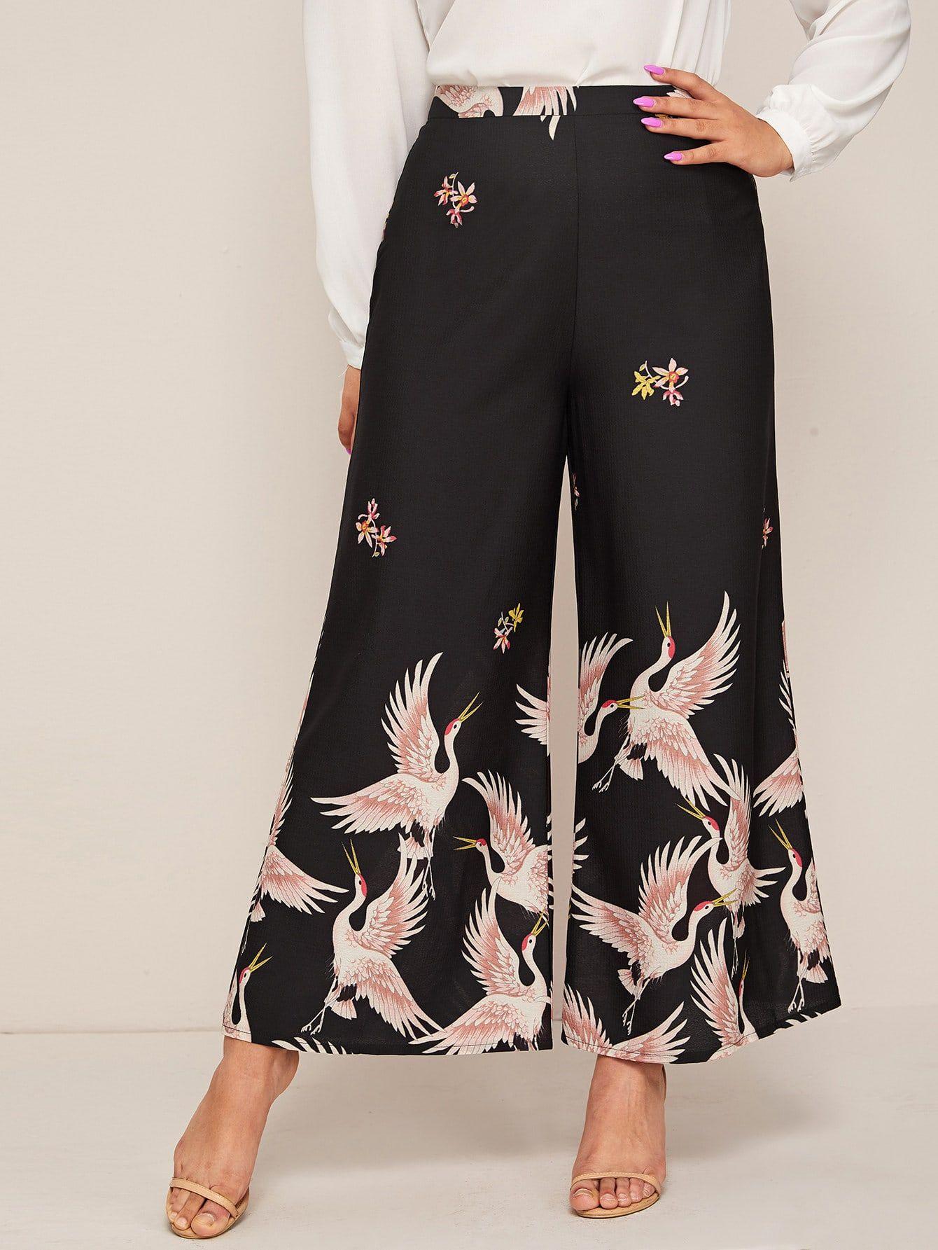 Photo of Pantalones anchos con estampado de grulla plus – MarketModa