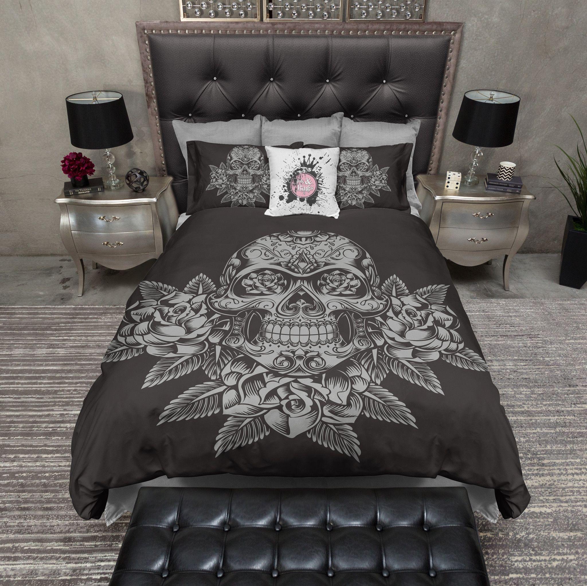 grey skull and roses on slate bedding | duvet bedding, bedding