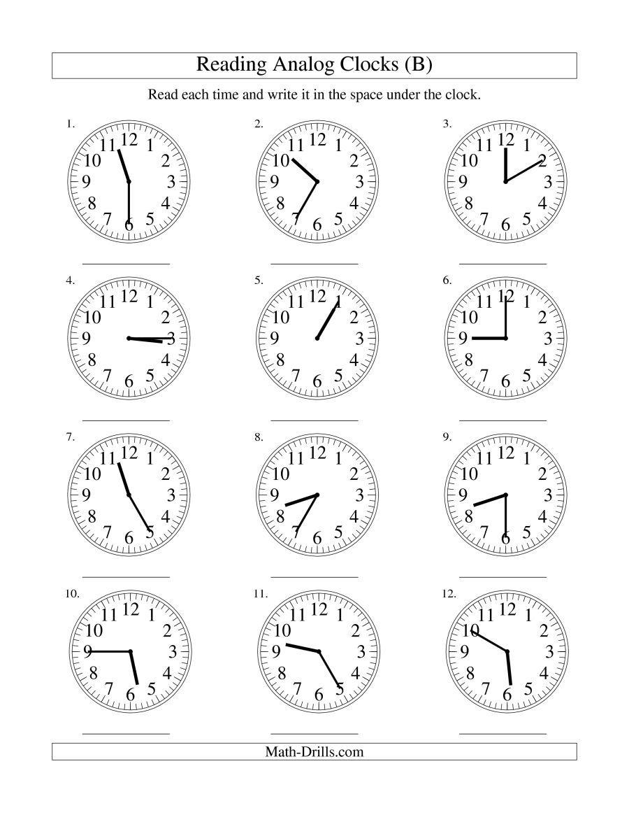 The Reading Time On An Analog Clock In 5 Minute Intervals B Math Worksheet Matteovningar Klocka Skola