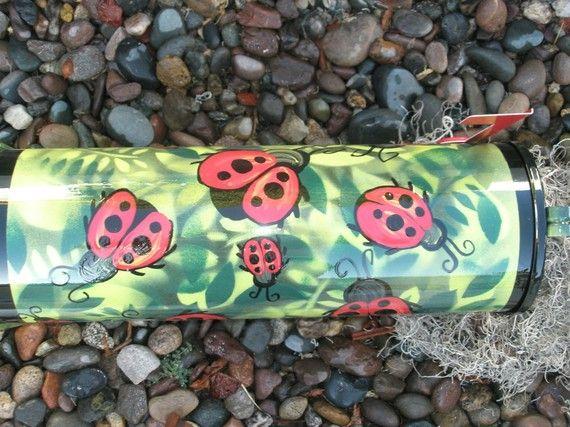 Ladybug custom hand painted mailbox by gonepostal09 on Etsy