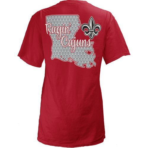03cdd1ad28c Three Squared Juniors' University of Louisiana at Lafayette State Monogram  Anchor T-shirt