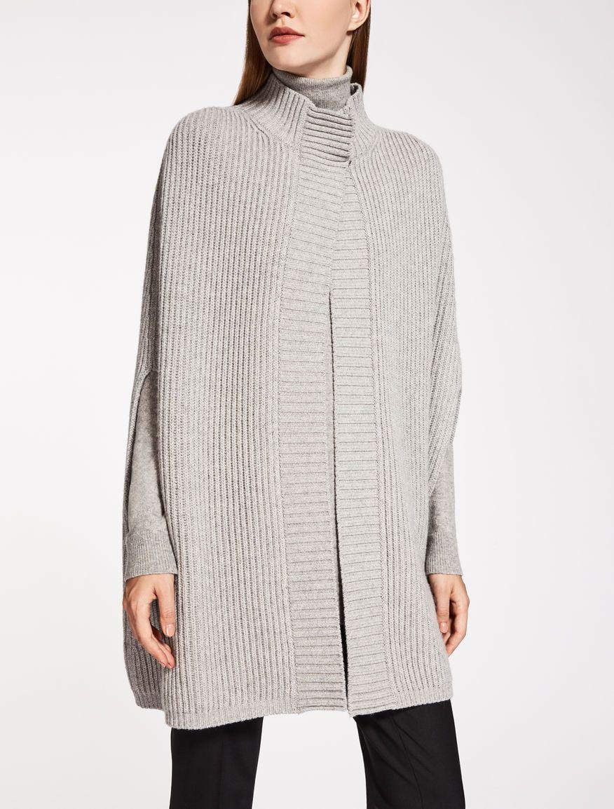 sale retailer f65d7 0bee7 Max Mara POLA grigio chiaro: Mantella in lana e cachemire ...