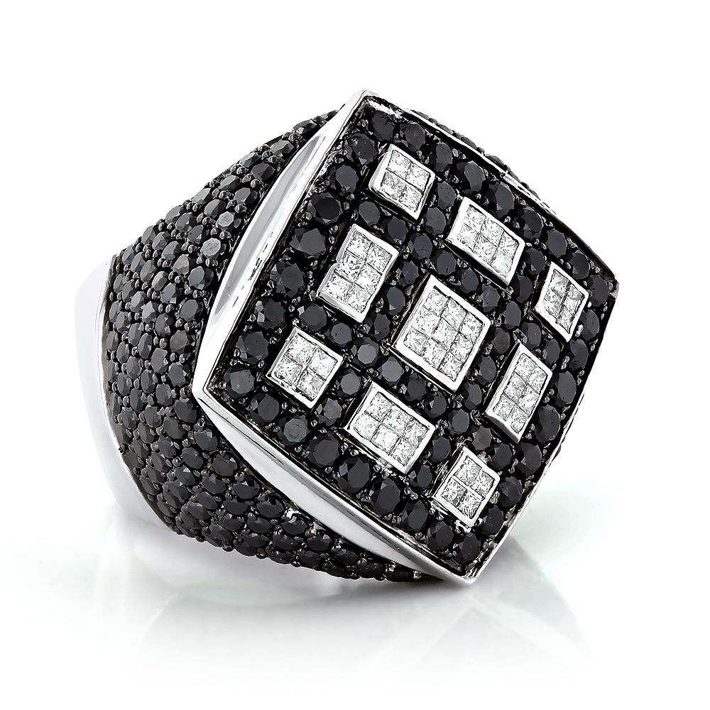 Celebrity 14K Gold White Black Diamond Mens Massive Ring 865ct