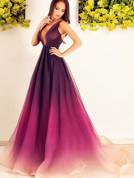 Gradient Burgundy Deep V-Neck Sleeveless Long Evening Prom Dresses, BW0595 Gradient Burgundy Deep V-Neck Sleeveless Long Evening Prom Dresses, BW0595