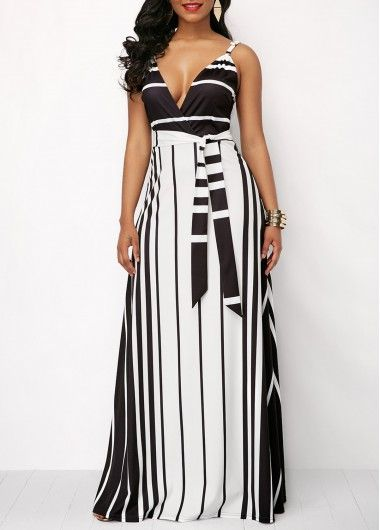 ce8b2014d1dcb Stripe Print Spaghetti Strap Belted Maxi Dress on sale only US 35.33 ...