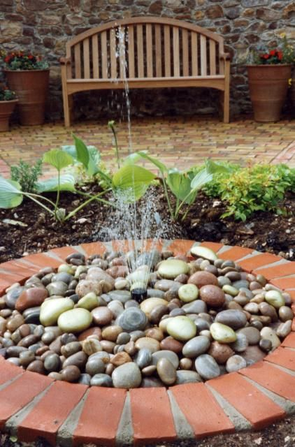 Back Patio Pebble Fountain Water Features In The Garden