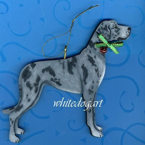 Uncropped Blue Merle Great Dane Christmas Ornament By Whitedogart