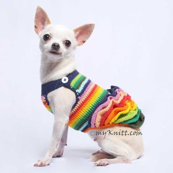 Rainbow Dog Dress Wavy Fluffy Skirt Crochet Cute Chihuahua Dress
