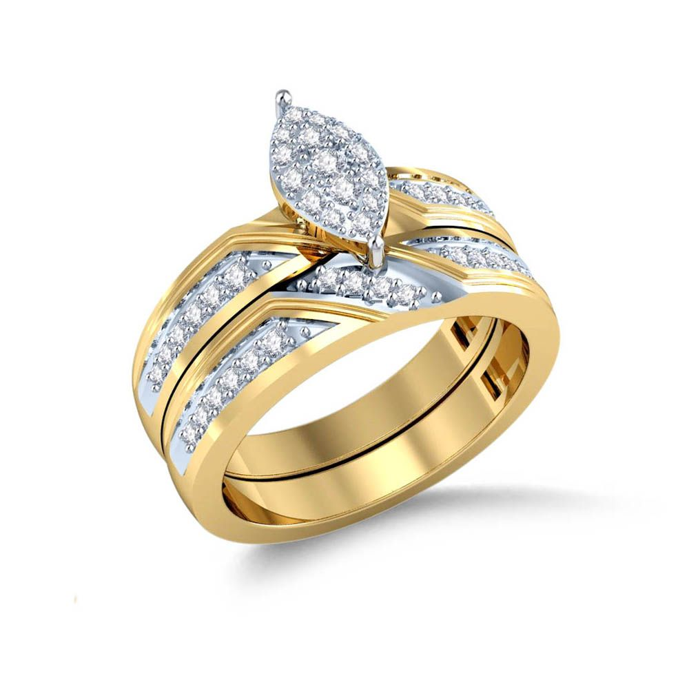 Marquise Shaped Top Diamond Bridal Set Set in 14 Kt Yellow Gold (7.20 gms) with Diamonds 0.36