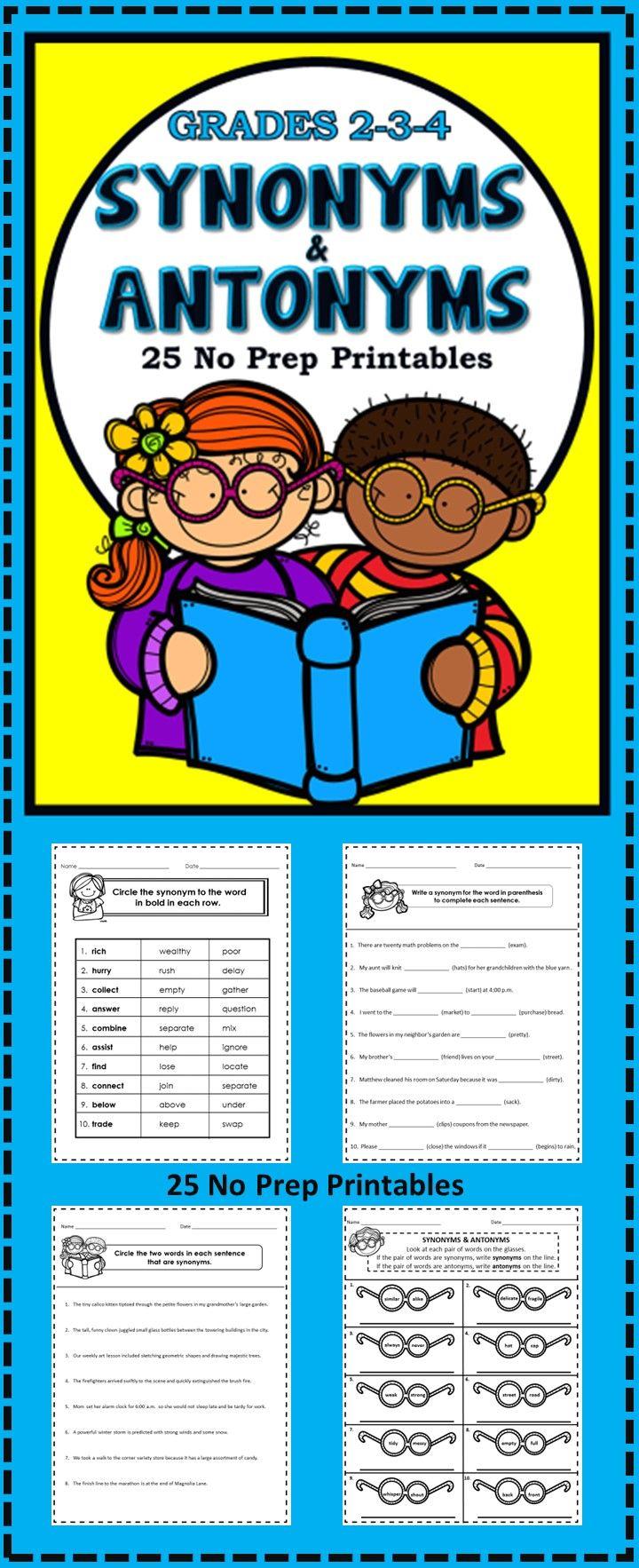 Synonyms And Antonyms No Prep Printables Grades 2 3 4 Synonyms And Antonyms Elementary Lesson Antonyms
