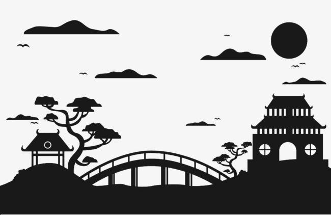 Jardin Japonais Silhouette Patio Pont Style Japonais Fichier Png Et Psd Pour Le Telechargement Libre Jardin Japonais L Art De La Silhouette Art Japonais