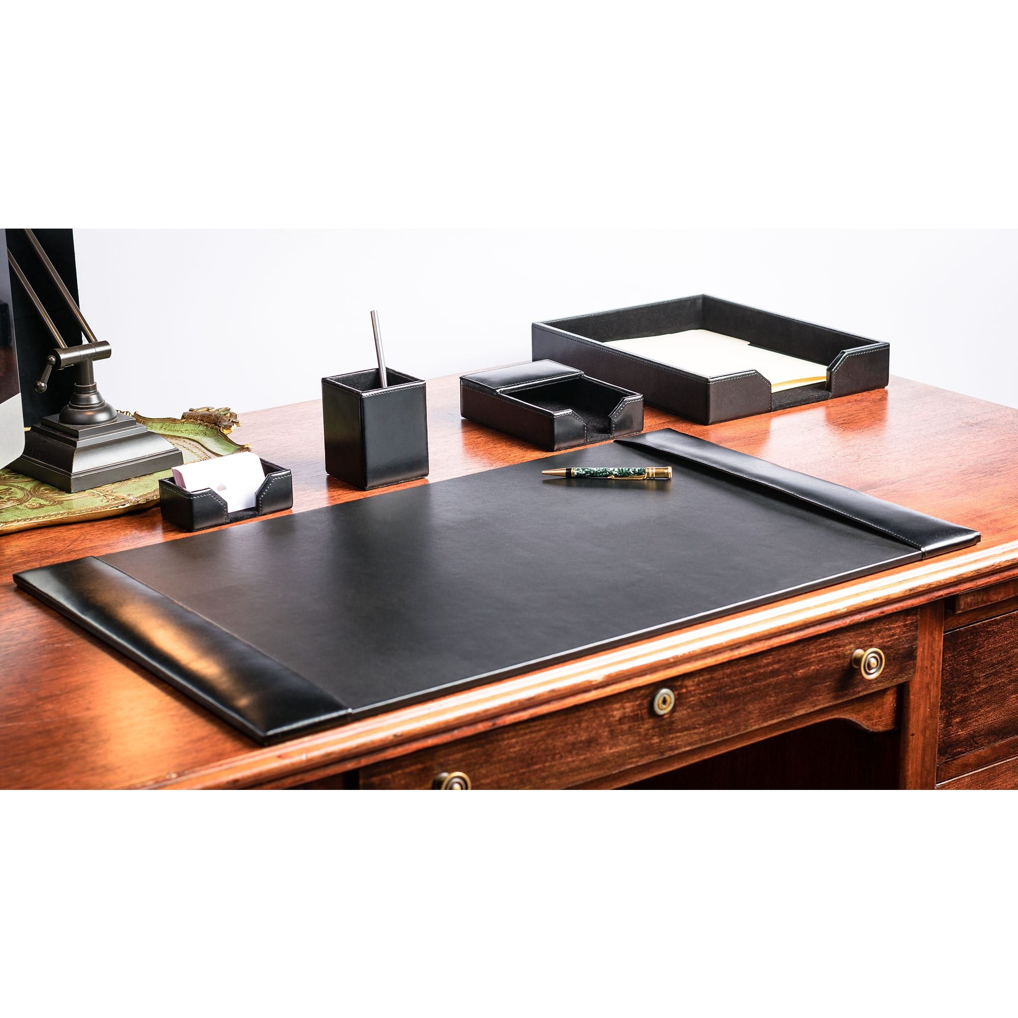 Stuck At Home Make Your Home Office Your Workplace With These Leather Desk Accessories Designed To In 2020 Leather Desk Leather Desk Accessories Desk Accessory Design