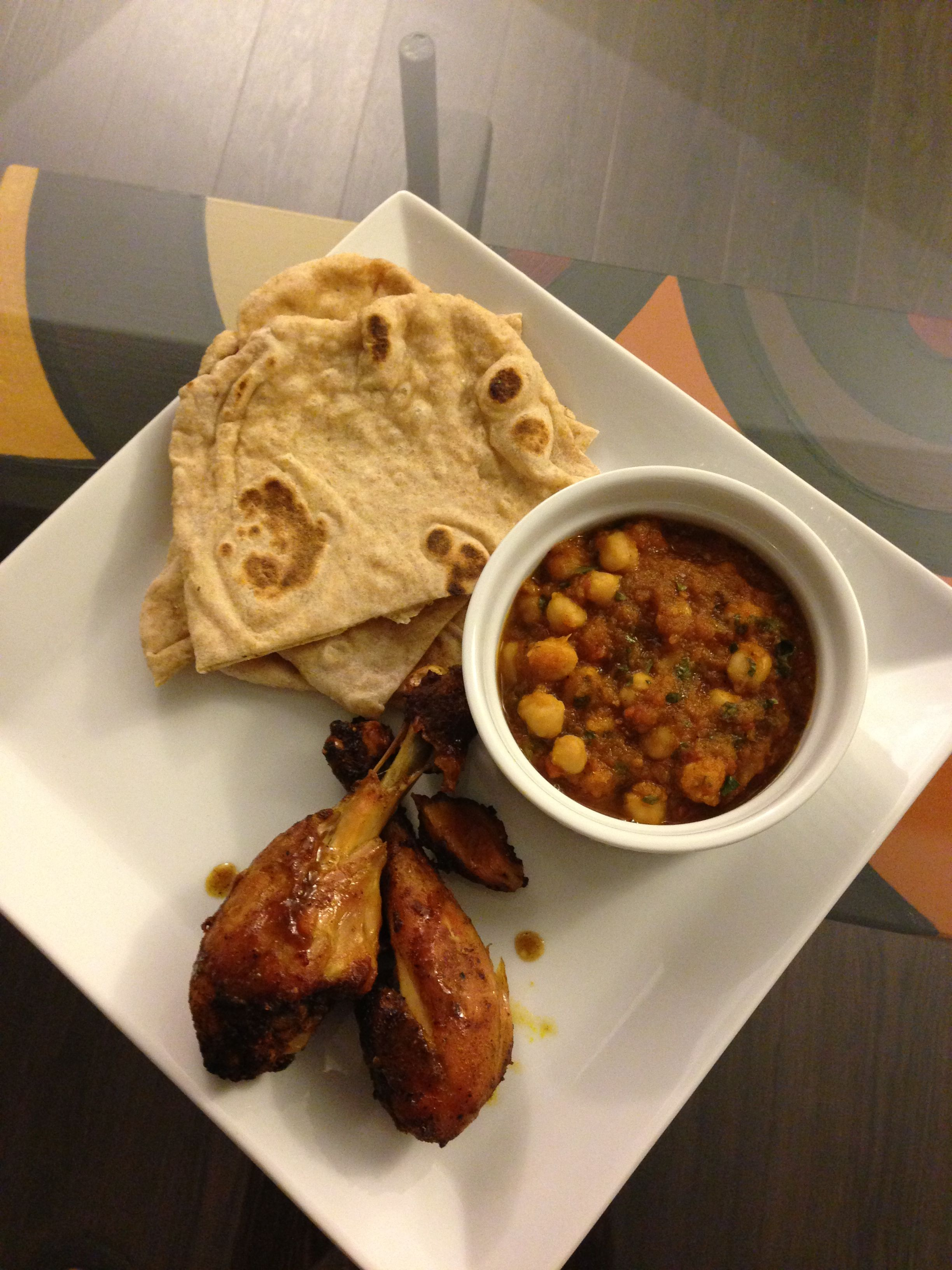 A trip to the east: Chole (Chana Masala), homemade naan and oven broiled curry chicken