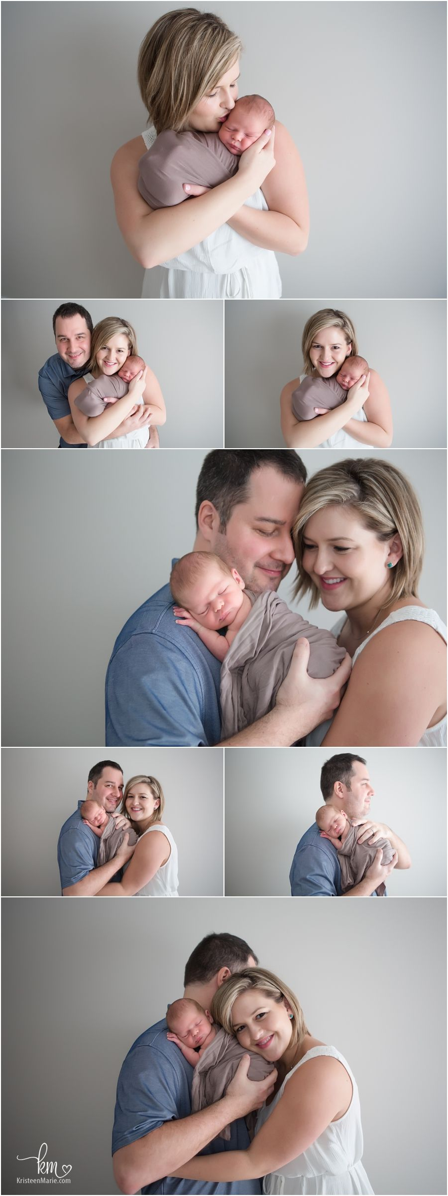 Parents and newborn baby family newborn photography poses in studio
