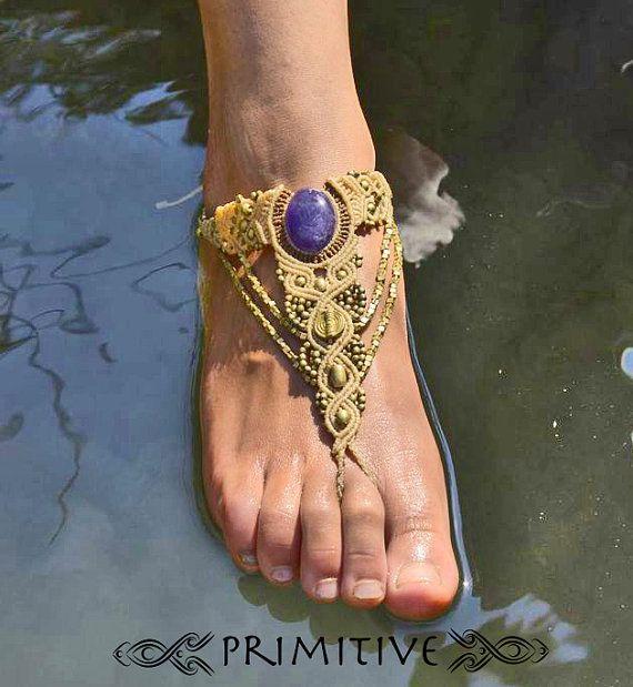 Tribal Macrame Bare Foots Sandal Anklet / Glove by PrimitiveCraft