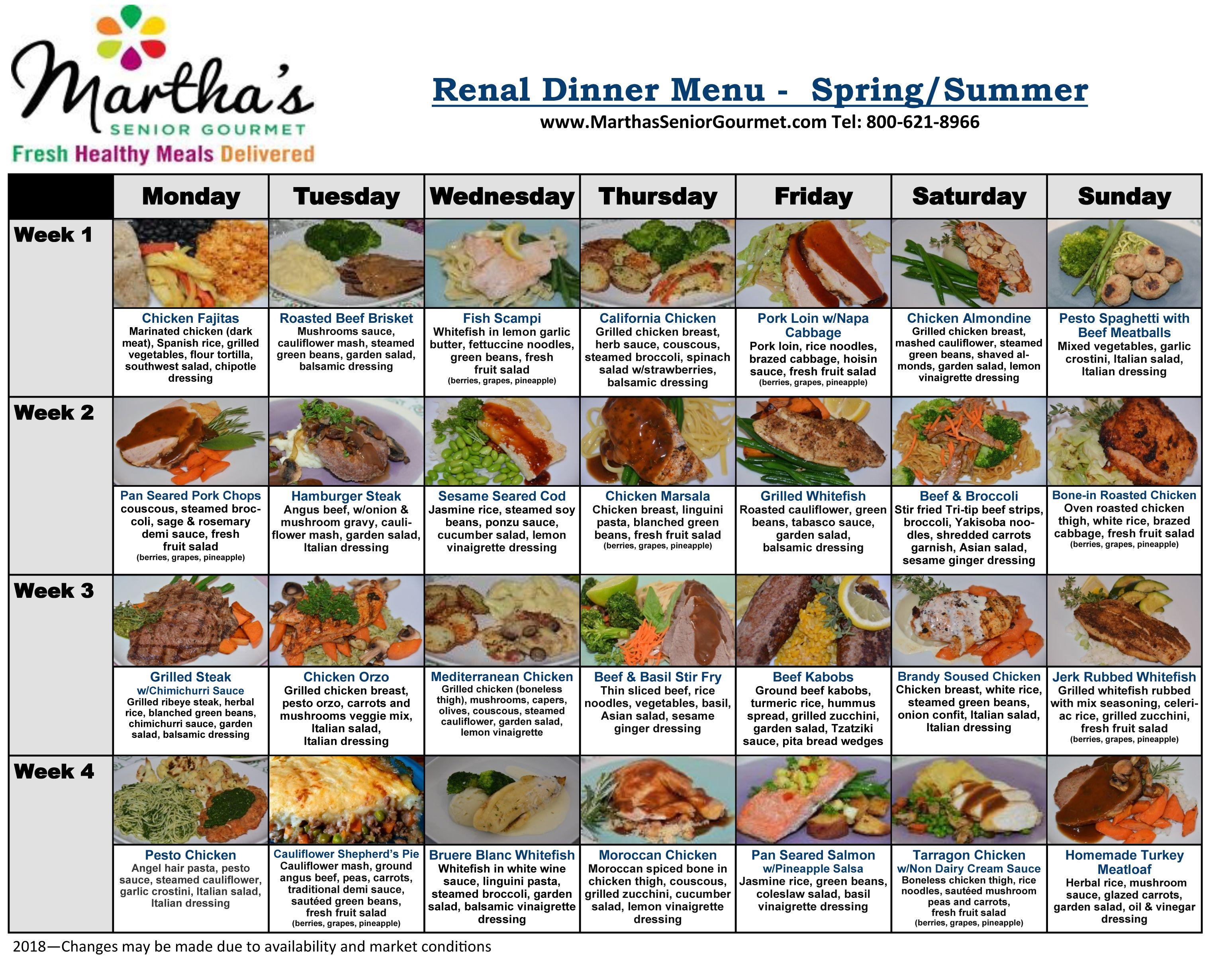 Renal Diabetic Dinner Menu - Spring/Summer #diabetesmenu