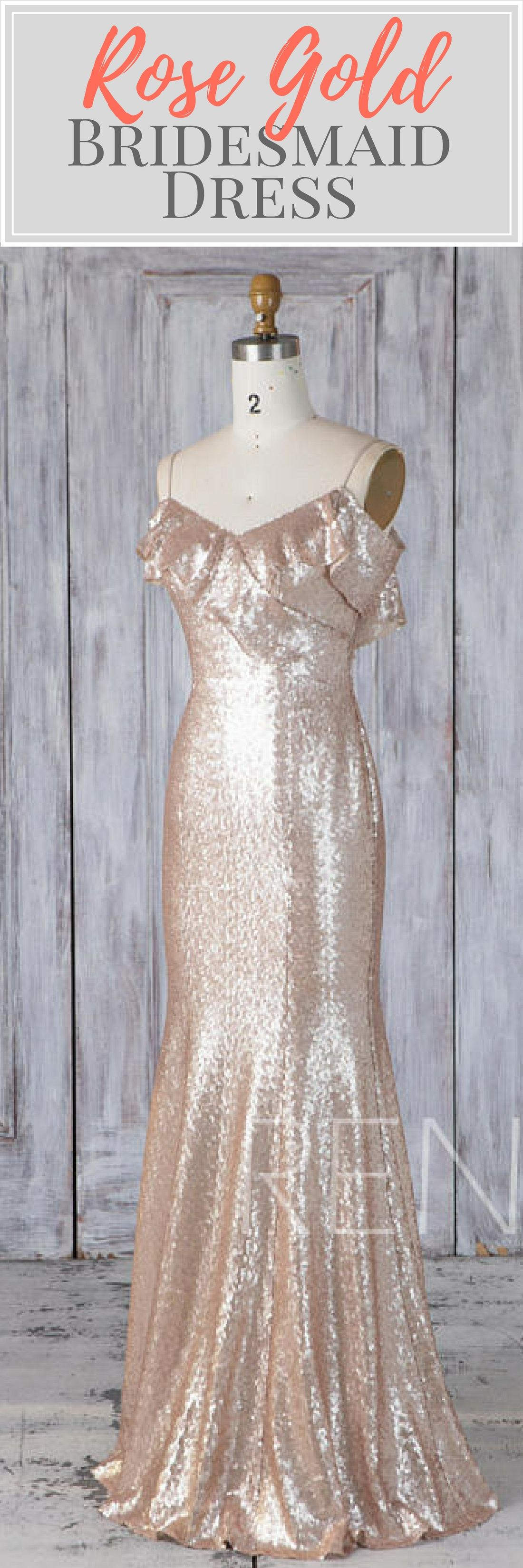 Gold sparkle wedding dress  Enchanting rose gold sequin bridesmaid dress or wedding dress with a