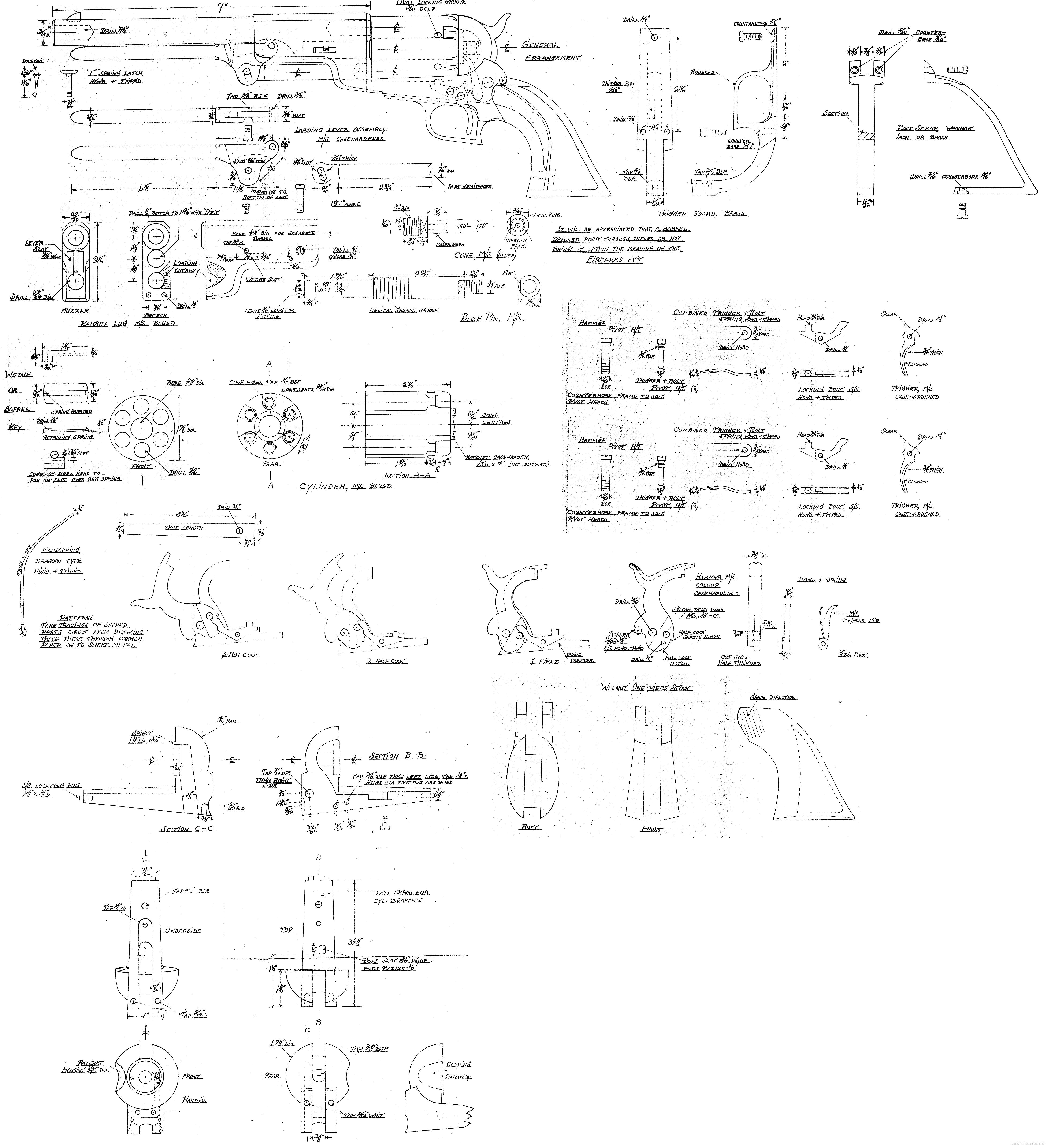 Colt Walker Schematics Wire Center M4 Schematic Revolver Construction Plan 4470 4900 Rh Pinterest Com Diagram Woodsman