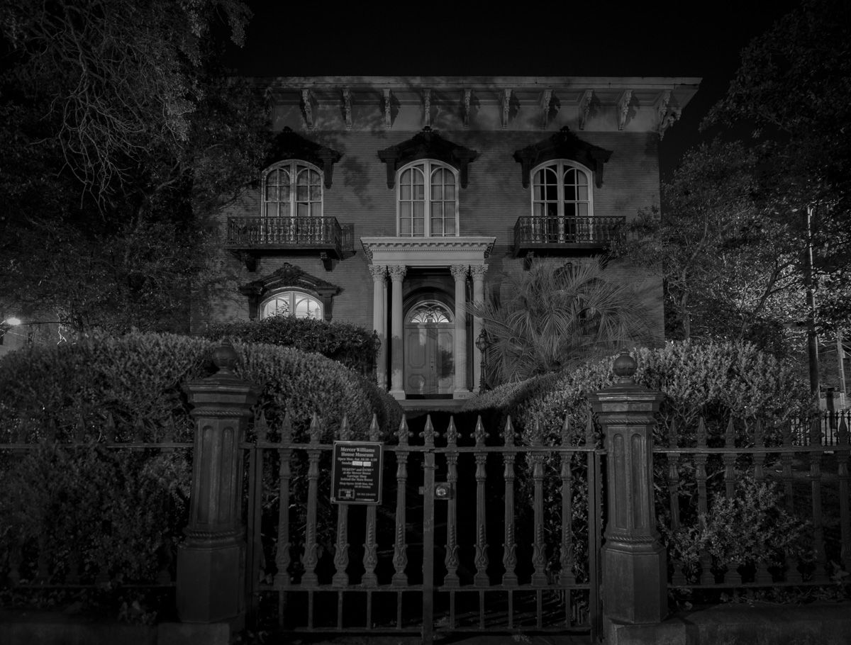 The Mercer Williams House, at night in Savannah