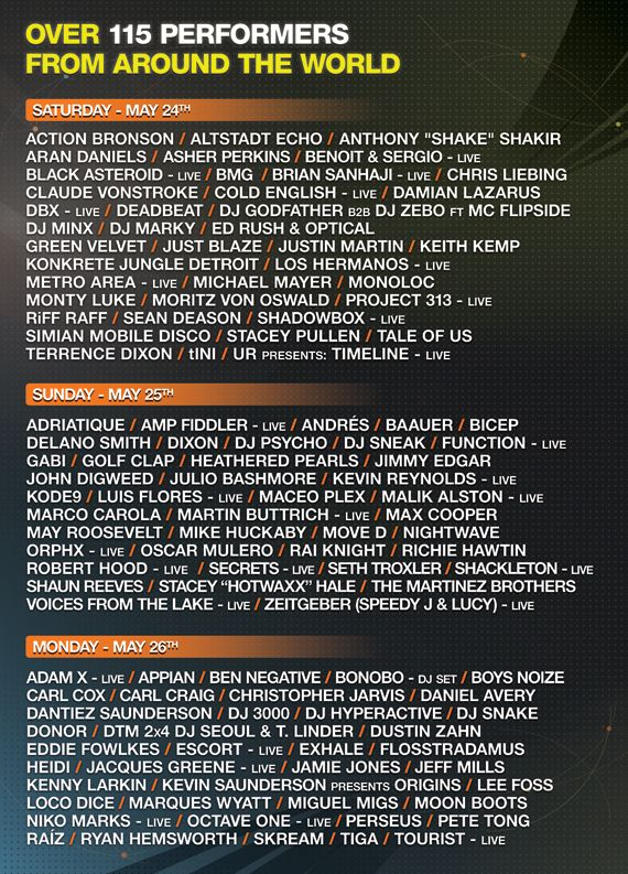 Movement Demf 2014 Schedule Dj Frequencies Dj Electronic
