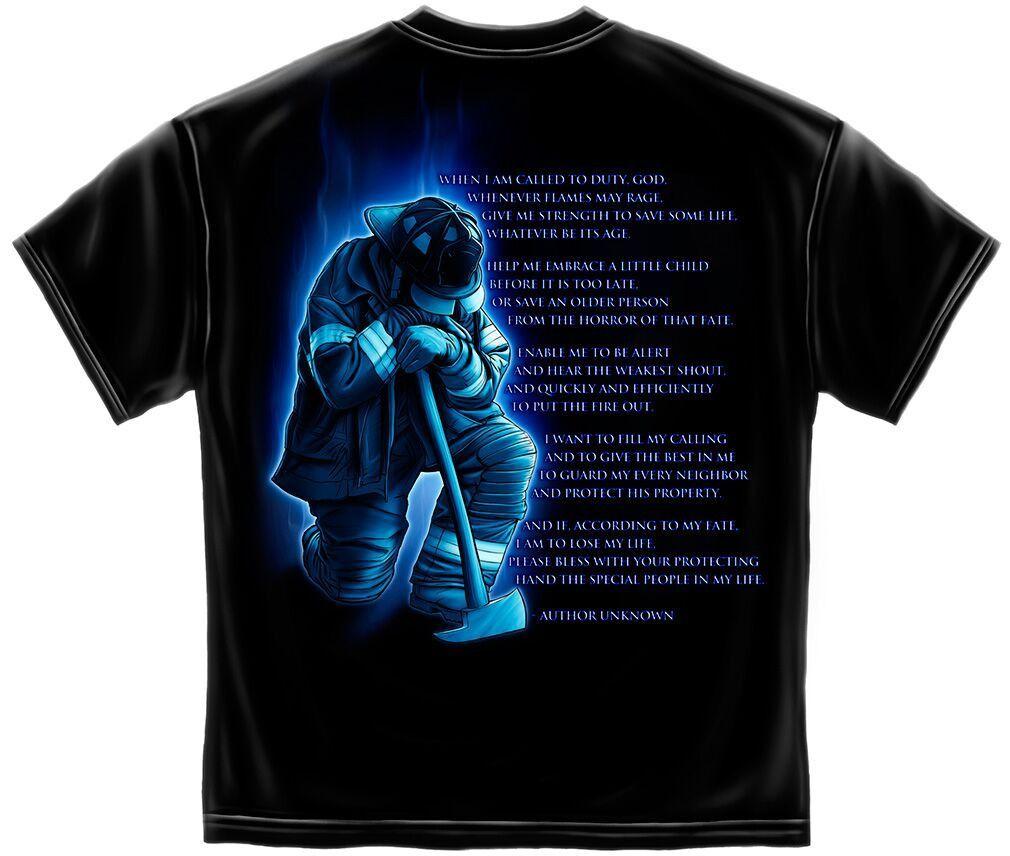 Fireman S Prayer T Shirt Firefighter Black Cotton Short Sleeve