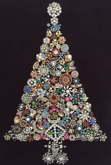 Vintage Rhinestone Jeweled Christmas Tree Collage Art