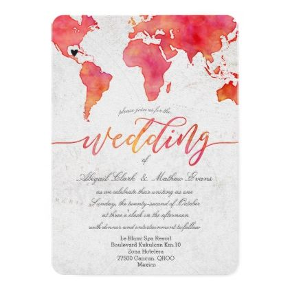Watercolor World Map Destination Wedding Invitatio Card  Wedding