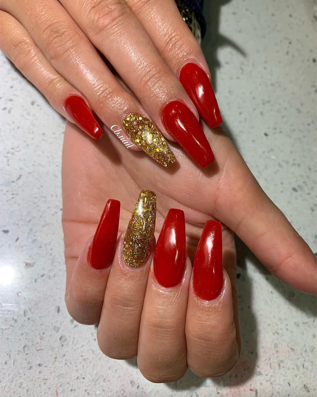 Coffin Red And Gold Christmas Nails