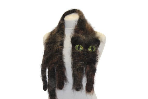Knitted Scarf / Fuzzy black and brown Soft Scarf / cat by TaniaSh, $53.00