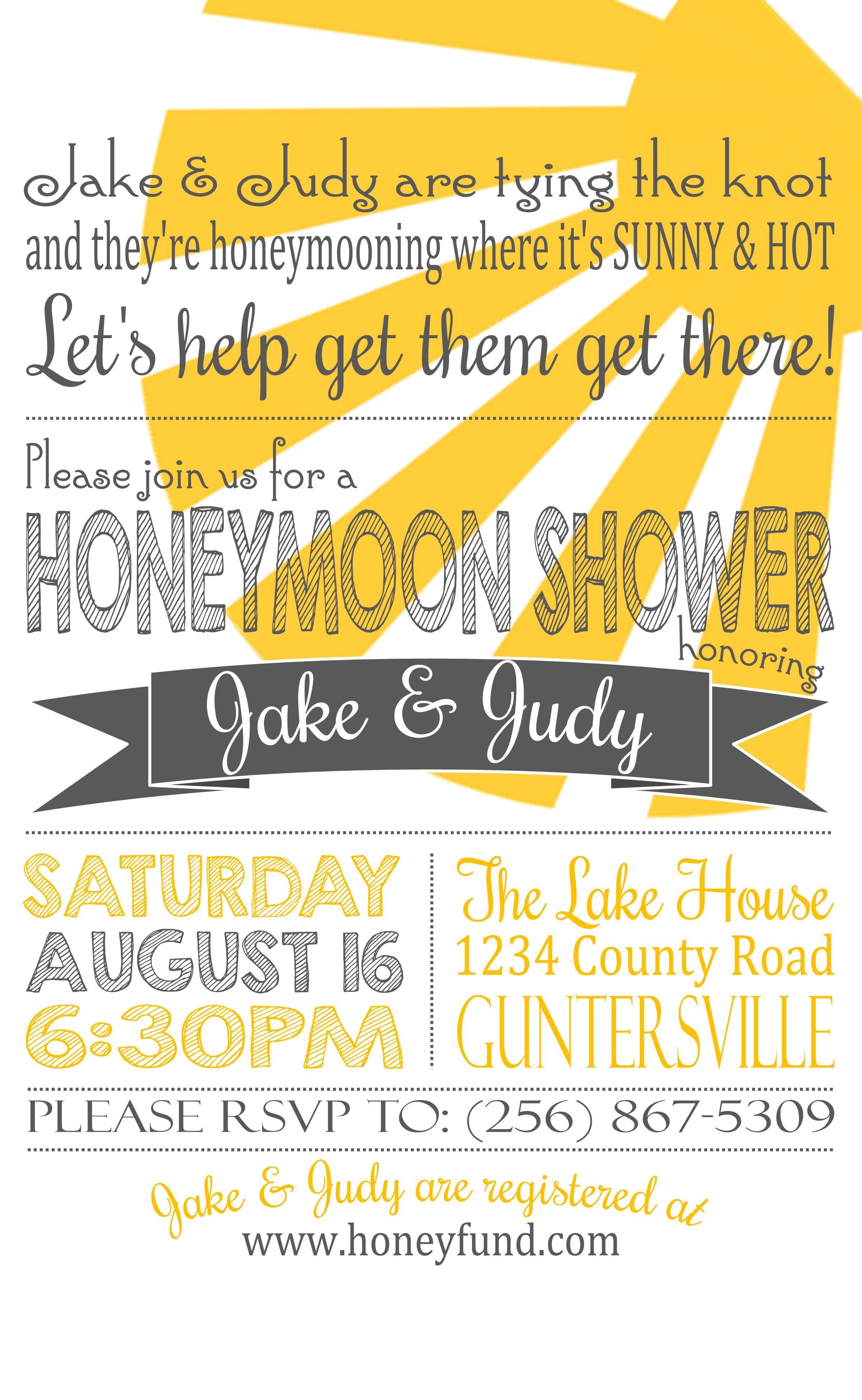 7bb9b0017977 Honeymoon shower invite   Bride