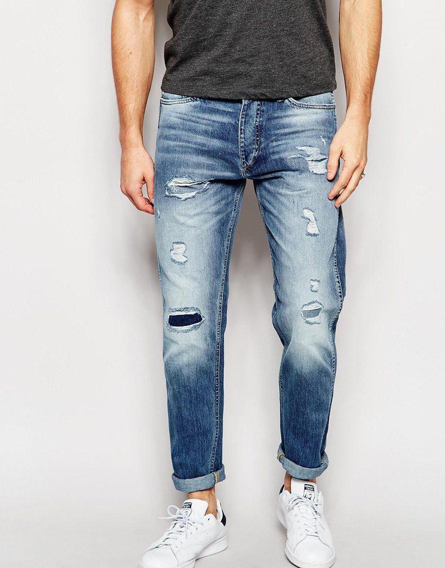 bdbedbb46b0f Jack+&+Jones+Light+Wash+Slim+Fit+Rip+&+Repair+Jeans |