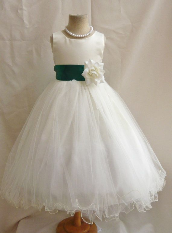 8cf3603729e Flower Girl Dresses IVORY with Green Hunter by NollaCollection ...