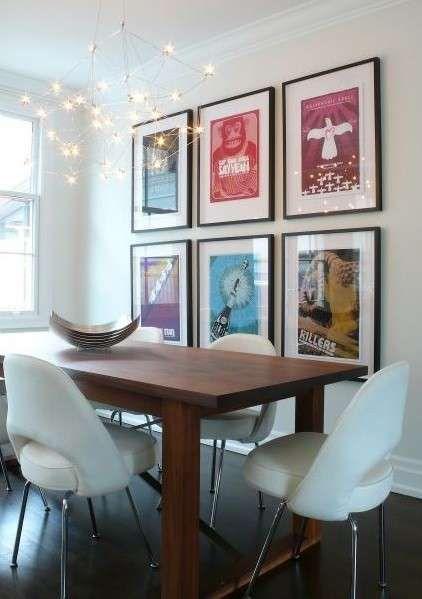 Arredamento e decorazione della sala da pranzo - Lampadario e quadri ...