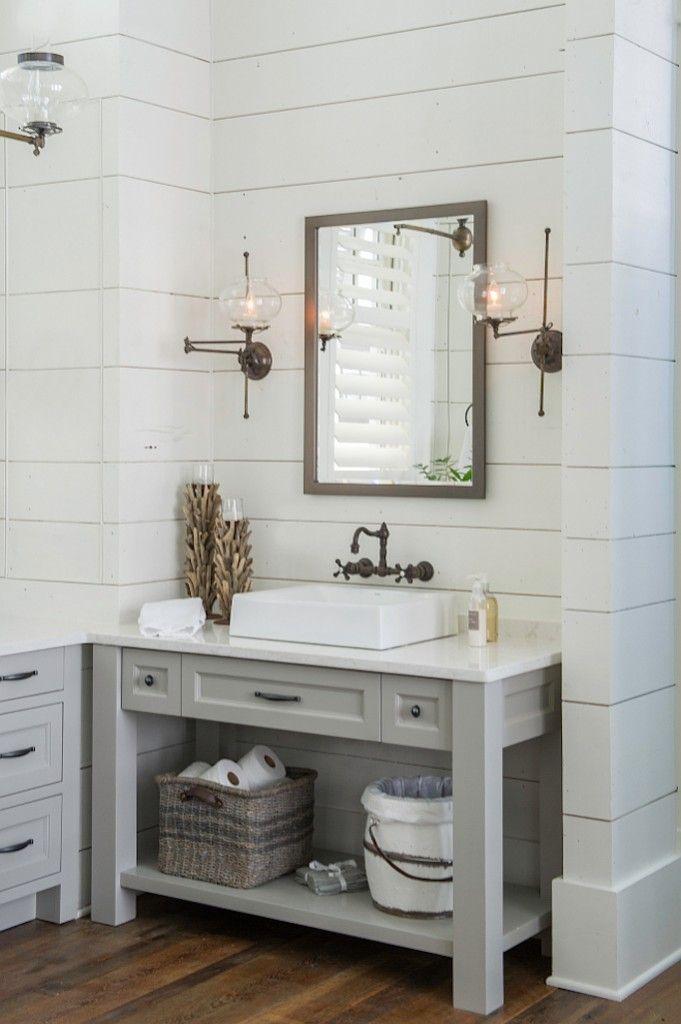 6 Inspiring Bathrooms Pinterest Favorites Becki Owens Bathroom Vanity Remodel Farmhouse Bathroom Vanity Small Farmhouse Bathroom