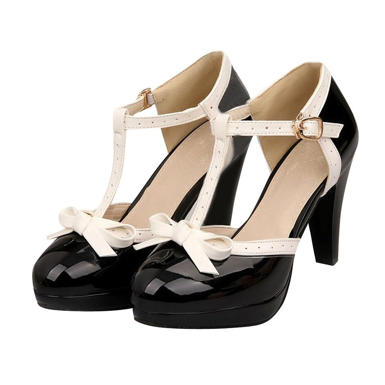 Women Grace Bowtie Round Toe Platform T-strap High Block Heels Court Punps Shoes