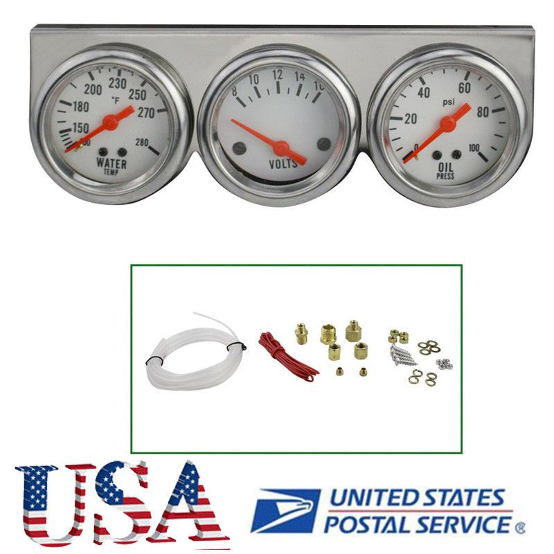 USA Universal Chrome Oil Pressure Water Volt Triple 3 Gauge Set Car ...