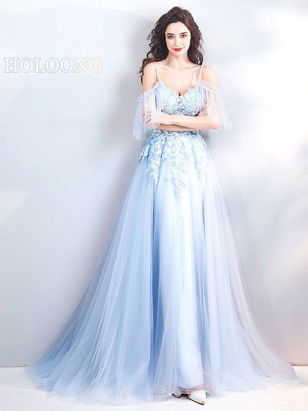 Floor Length Lace, A-Line Dress has Floral Embroidery