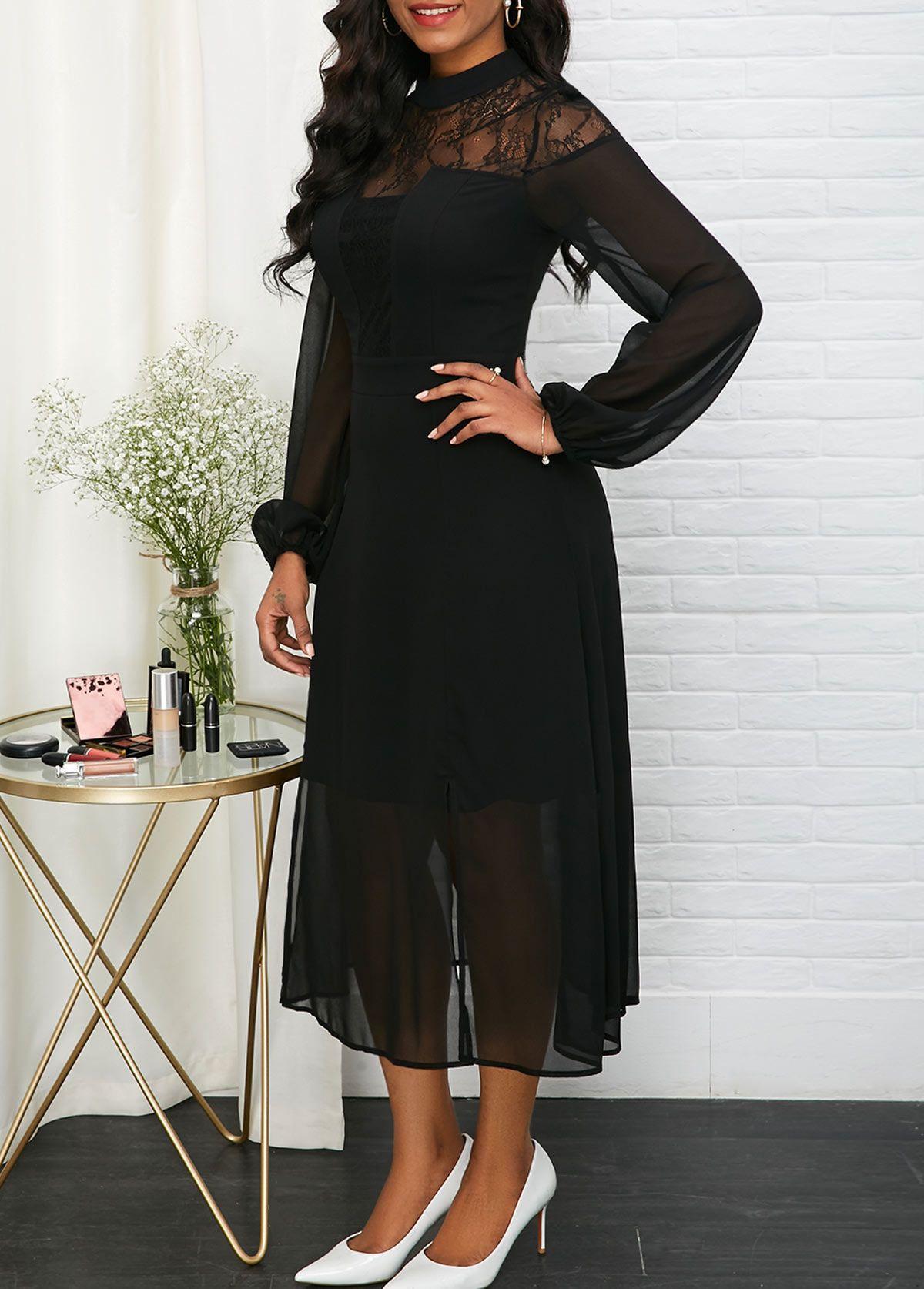 Mock Neck Lace Patchwork Long Sleeve Chiffon Dress Long Sleeve Chiffon Dress Black Chiffon Dress Pink High Low Dress [ 1674 x 1200 Pixel ]